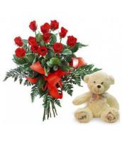 11 Gorgeous Roses and a Teddy Bear