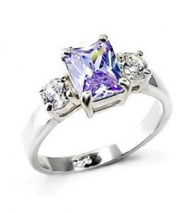 Sterling Silver Ring with Light Amethyst Stone